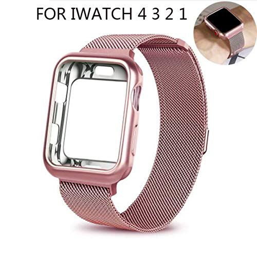 JANSIN for Apple Watch Band 38mm 40mm 42mm 44mm, Stainless Steel Mesh Milanese Sport Wristband Loop with Apple Watch Screen Protector Compatible for iWatch Series 1/2/3/4 (Rose Pink, 38MM)