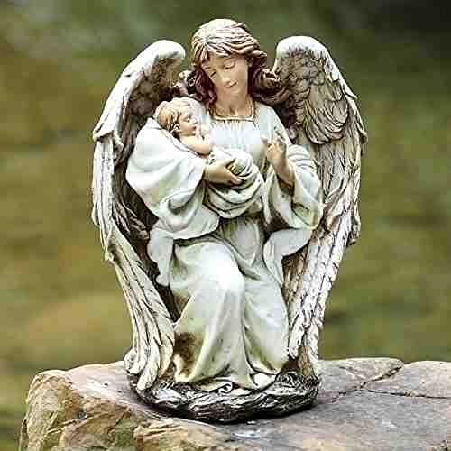 Josephs Studio Garden Statue, 63650, Guardian Angel Kneeling and Holding a Baby, 17 inches tall (Baby Statues)