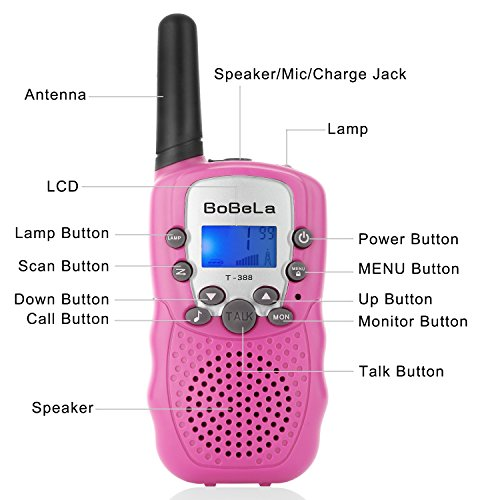 Bobela Cute Walkie-Talkies for Women Hiking - T-388 Portable Walky-Talky with Flashlight for Adults Girls Wakie-Talkies with FCC PTT Mic 22 Channels for Kids as Cool Personalized Gifts (Pink 2 Pack) by Bobela (Image #1)