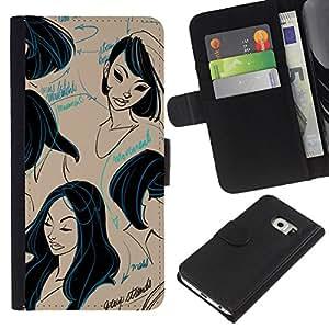 KLONGSHOP // Tirón de la caja Cartera de cuero con ranuras para tarjetas - pelo negro de corte de diseño peluquería - Samsung Galaxy S6 EDGE //