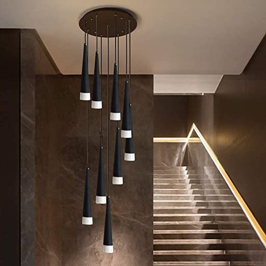 Las gotas de agua modernas escaleras lámparas colgantes, lámpara colgante espiral, lámpara de techo ajustable Villa con un techo de largo, lámpara de iluminación de la decoración del hotel,Black 15 flaming: Amazon.es:
