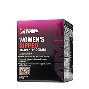 GNC Pro Performance AMP Womens Ripped Vitapak Program with Thermogenics, Beauty Hydration Support 30 Count