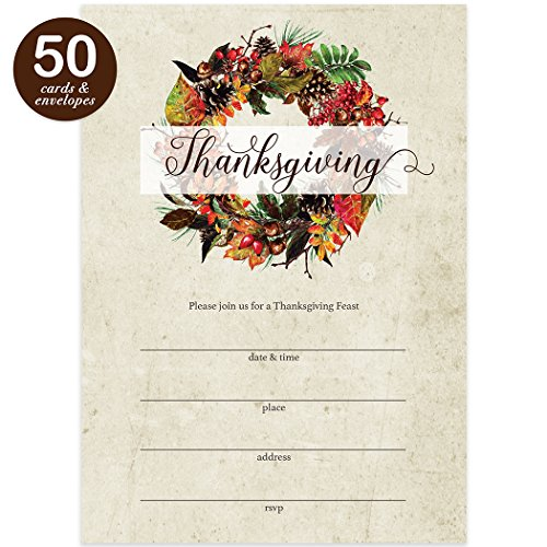 Rustic Thanksgiving Dinner Invitations & Envelopes ( Pack of 50 ) Large 5 x 7