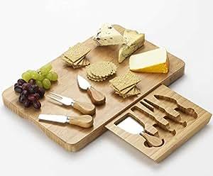 Occasion tabla para cortar quesos con 4 cuchillos bamb rectangular 40 x 25 cm - Cuchillo cortar queso ...
