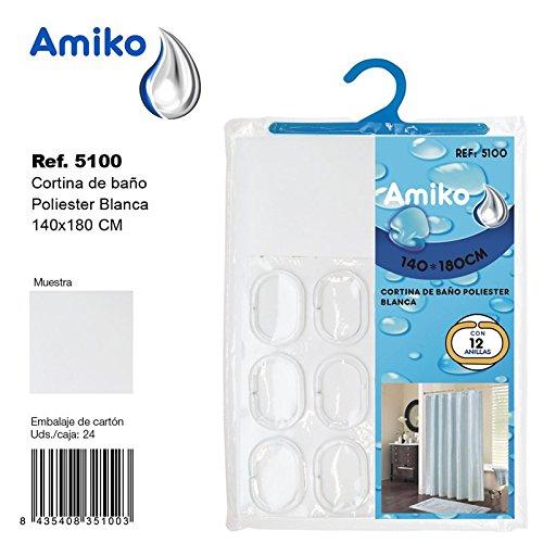 Amiko Cortina de Ba/ño Poliester 140x180cm Blanca