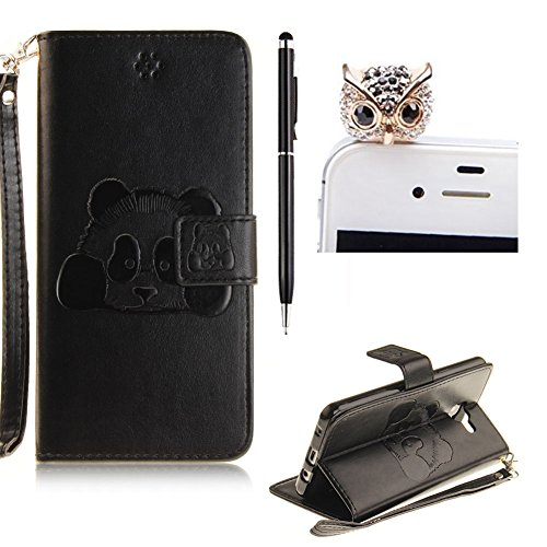SKYXD For Samsung Galaxy A5 2016 Flip Leather Case,Vintage Style Embossed Cute Panda Pattern[With Hand Wrist Strap]Folio PU Leather Wallet Case Cover for Samsung Galaxy A5 2016 +Stylus+Dust (A5 Black Dust)