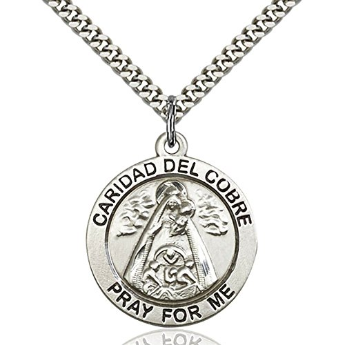 Sterling Silver Caridad Del Cobre Pendant 1 x 7/8 inches with Heavy Curb Chain by Unknown