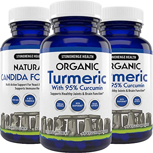 Stonehenge Health Organic Turmeric Maximum Strength 95 Curcumin with BioPerine for Added Absorption – Anti-Inflammatory, Pain Reducer, Arthritis Support – 1,010 mg Daily dose 3 Pack