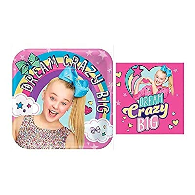 JoJo Siwa Dream Crazy Big Party Supply Bundle Plates Napkins: Toys & Games