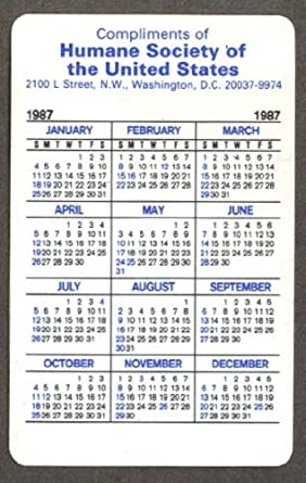 Humane Society Of The Us Pocket Calendar 1987 At Amazon S