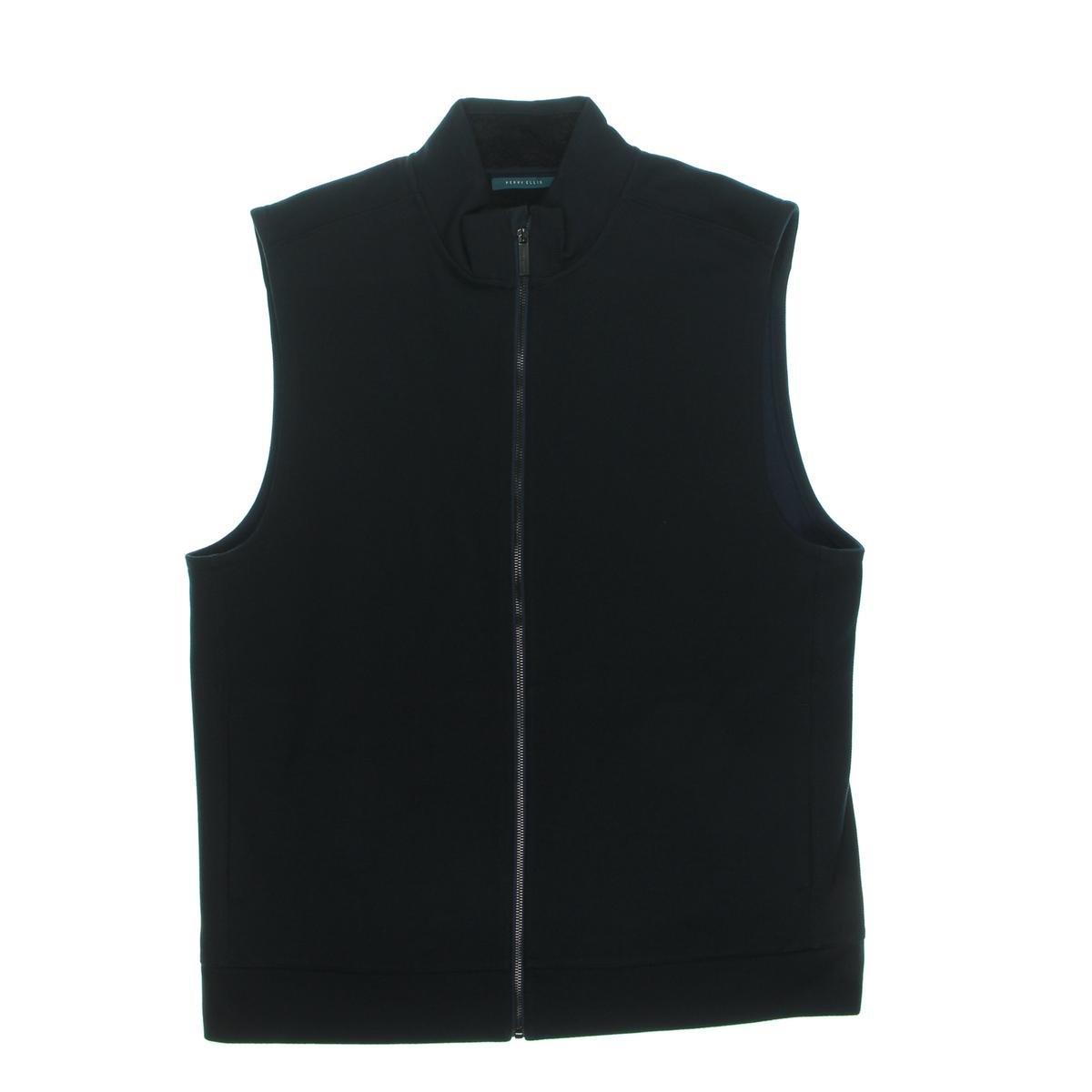 Perry Ellis Mens Zip-Front Textured Black Vest 4BHK7101PS