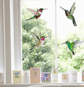 4 Beautiful Humming Bird Static Cling Window Stickers