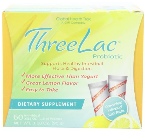 Threelac Probiotic Dietary Supplement, Natural Lemon Flavor,