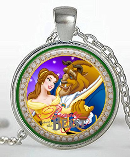 1 BEAUTY AND THE BEAST Silver Bezel Pendant Necklace #1