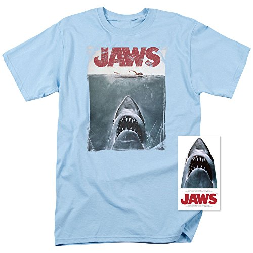 5769768ed5fb How Long to Read Jaws Shark Original Movie Poster T Shirt & Stickers Blue