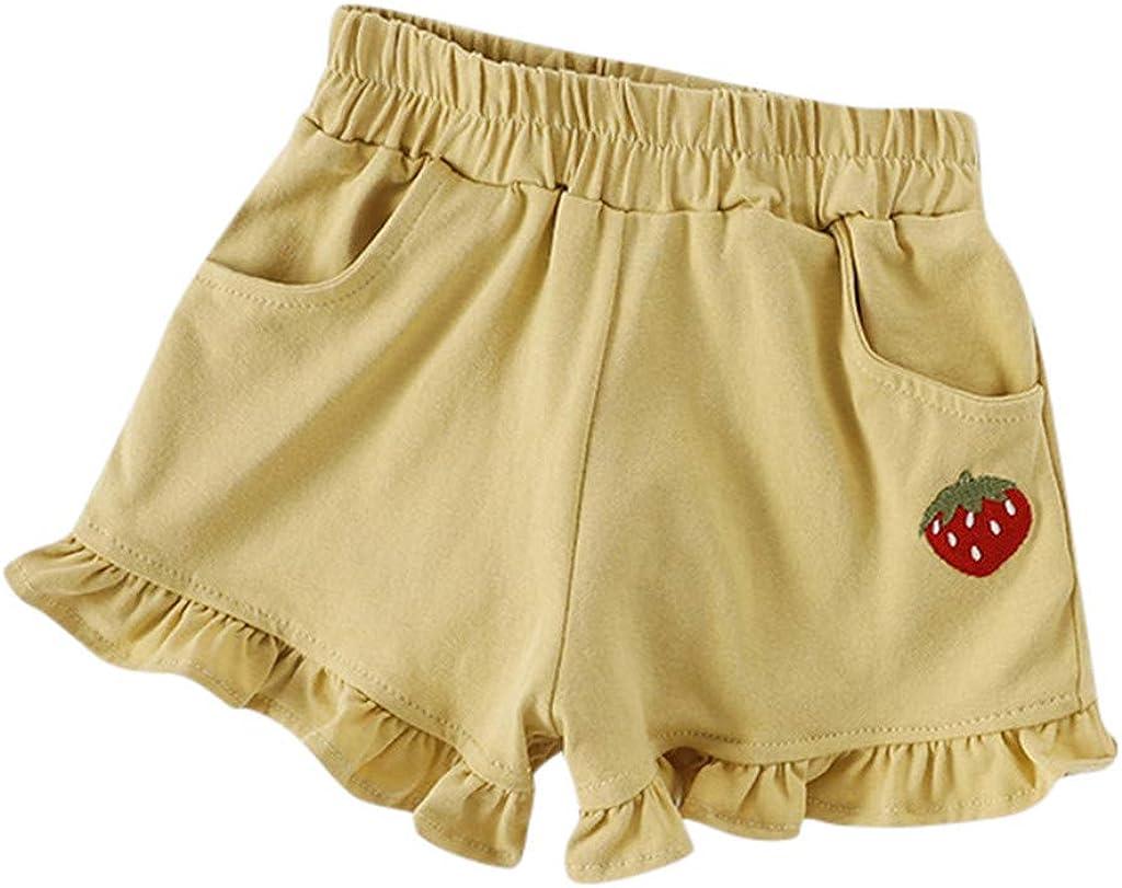 Kids Girls Shorts Gym Dance Sports Fashion Summer Hot Pants 1-6 Years Children Casual Elastic Waist Drawstring Shorts Running Pants Holiday Shorts Lonshell