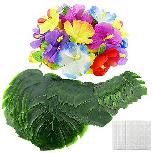 EOOUT 96pcs Hawaiian Party Decorations - 48Pcs Tropical Artificial Palm Leaves(3 Sizes) 48Pcs Hawaiian Luau Flowers 48Pcs Double Sided Dots Glue