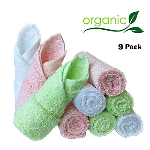 Baby Washcloths Natural Organic Bamboo Baby Face Towels - Reusable and Extra Soft Newborn Baby Bath Washcloths - Suitable for Sensitive Skin Baby Registry as Shower Gift Set (Colorful towels-9pack)