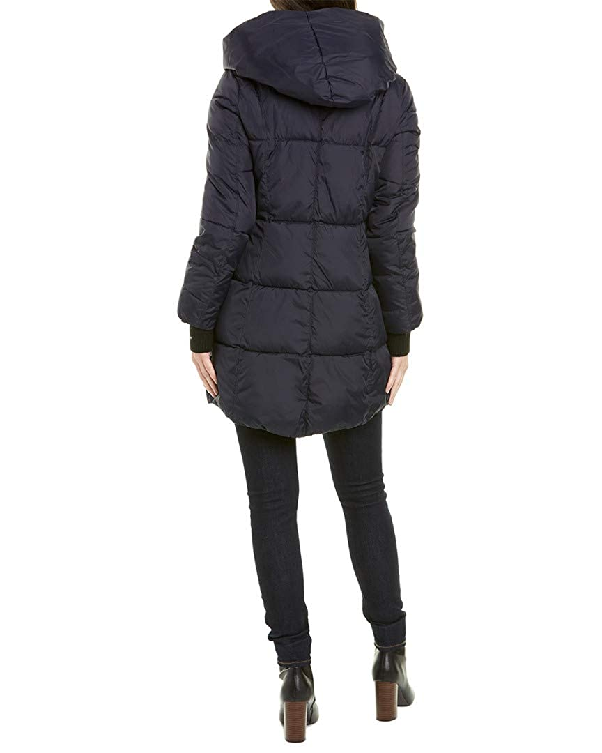 French Connection Womens Asymmetrical Hem Coat with Faux Leather Contrast
