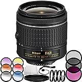 Nikon AF-P DX NIKKOR 18-55mm f/3.5-5.6G Lens (Certified Refurbished) 7PC Accessory Bundle – Includes 3PC Filter Kit (UV + CPL + FLD) + 4PC Macro Filter Set (+1,+2,+4,+10) + More