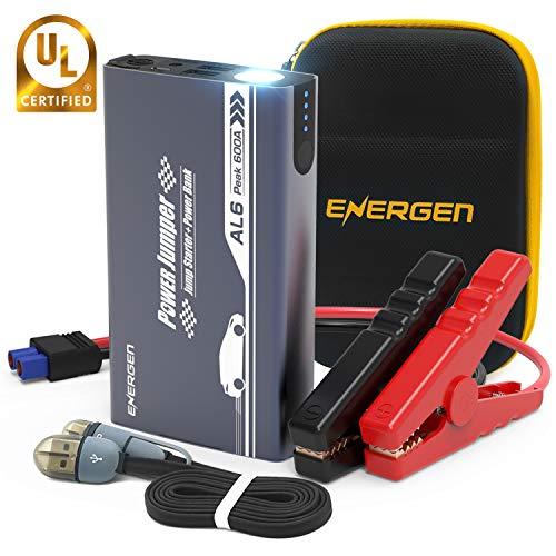 Energen Car Jump Starter Al6 600A Peak 12V with USB Charging Port, Built-in Led Flashlight, Ul Certified