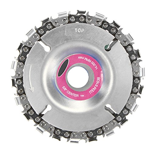 4 Inch Grinder Disc and Chain 22 Tooth Fine Cut Chain Set For 100 115 Angle Grinder 5/8 Inch Center Hole by Toolcool