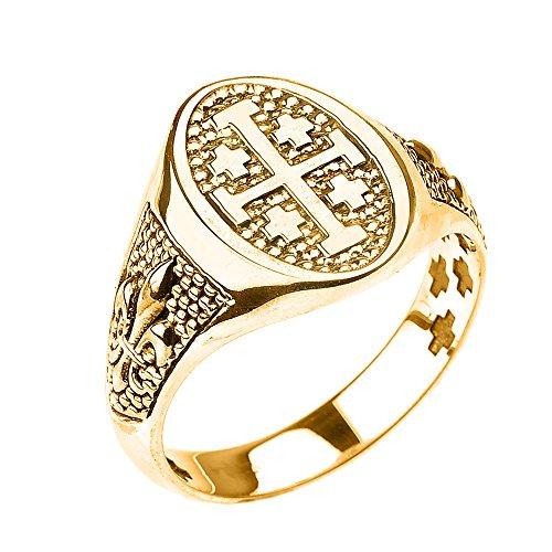 14k Yellow Gold Jerusalem Cross Unisex Ring with Fleur De Lis (Size 9) (Yellow Gold 14k Jerusalem Cross)
