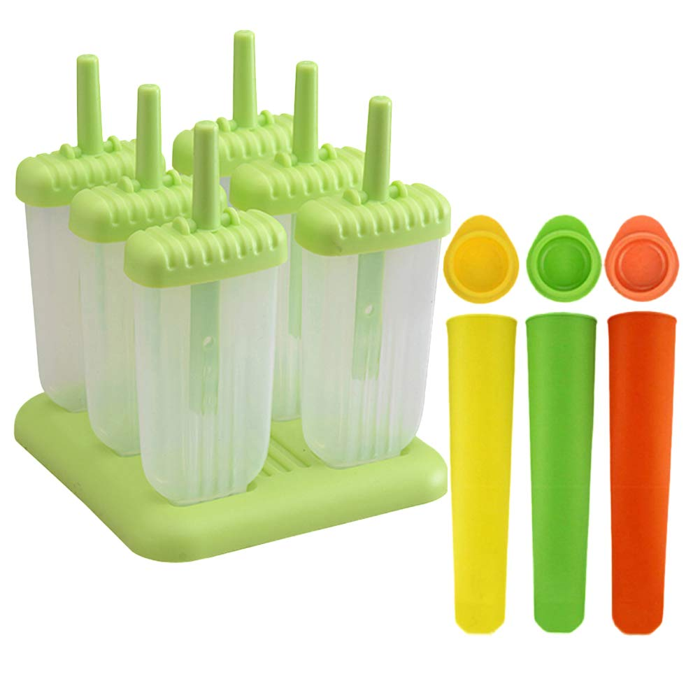 Ice Pops Mould Set, Silicone Ice Lolly Moulds with Leak Proof Caps, Flexible & Durable, Easy Clean & No Mess! - BPA Free & Food Grade Silicone Popsicle Moulds (6 Pcs) Augola