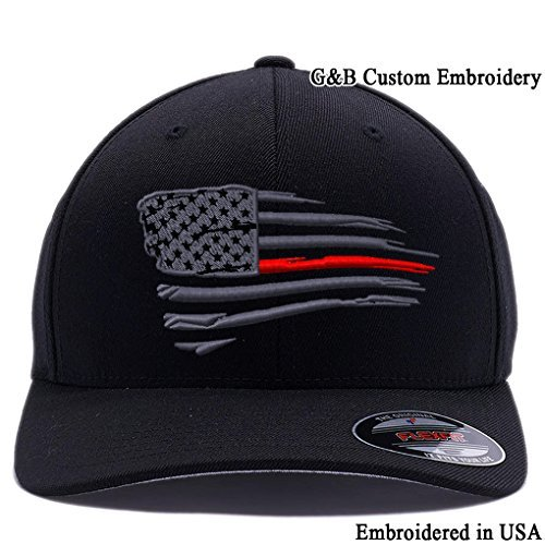 Flexfit Thin Red Line Waving USA Flag. Embroidered, 6477 Wool Blend Cap Hat (S/M Black)