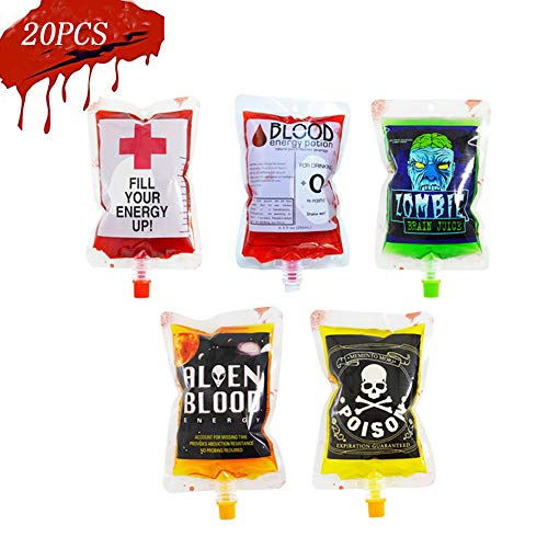 20 Packs Halloween Blood Bag Drink Container,250mL Theme Party Decorations Bags with Funnel Hooks Set, Juice Alcohol Jello Drink Cups Supplies for Carnival Holiday Party -