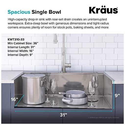 Kitchen Kraus KWT310-33/18 Kore Workstation 33-inch Drop-In or Undermount 18 Gauge Single Bowl with Integrated Ledge and… modern kitchen sinks
