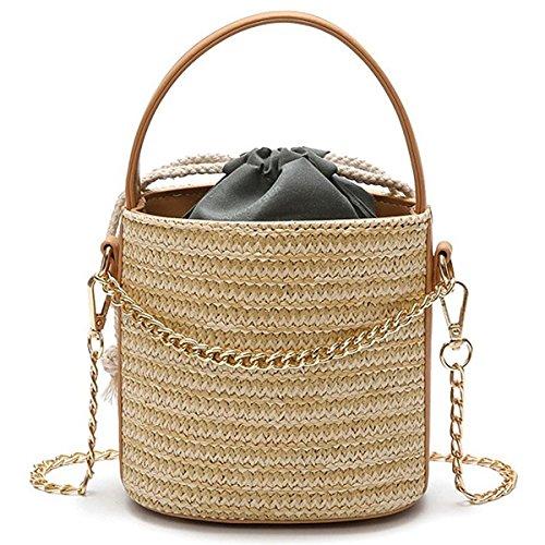 TOOGOO Mujeres Straw Bolso Tote Summer Holiday Woven Bucket Bag Leisure Cadena de hombro Bolso Crossbody (negro) Caqui