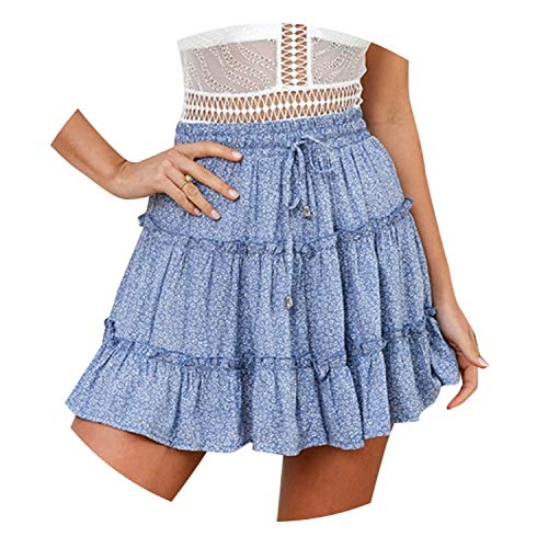 Zombie Jessica 2019 Lady Beach Women Summer Casual High Waist Ruffled Floral Print Bohemian Beach Short Skirt,A,XL