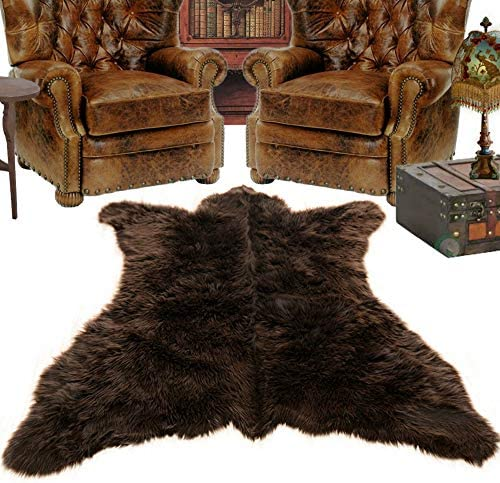 Fur Accents Brown Grizzly Bear Skin Faux Fur Area Rug