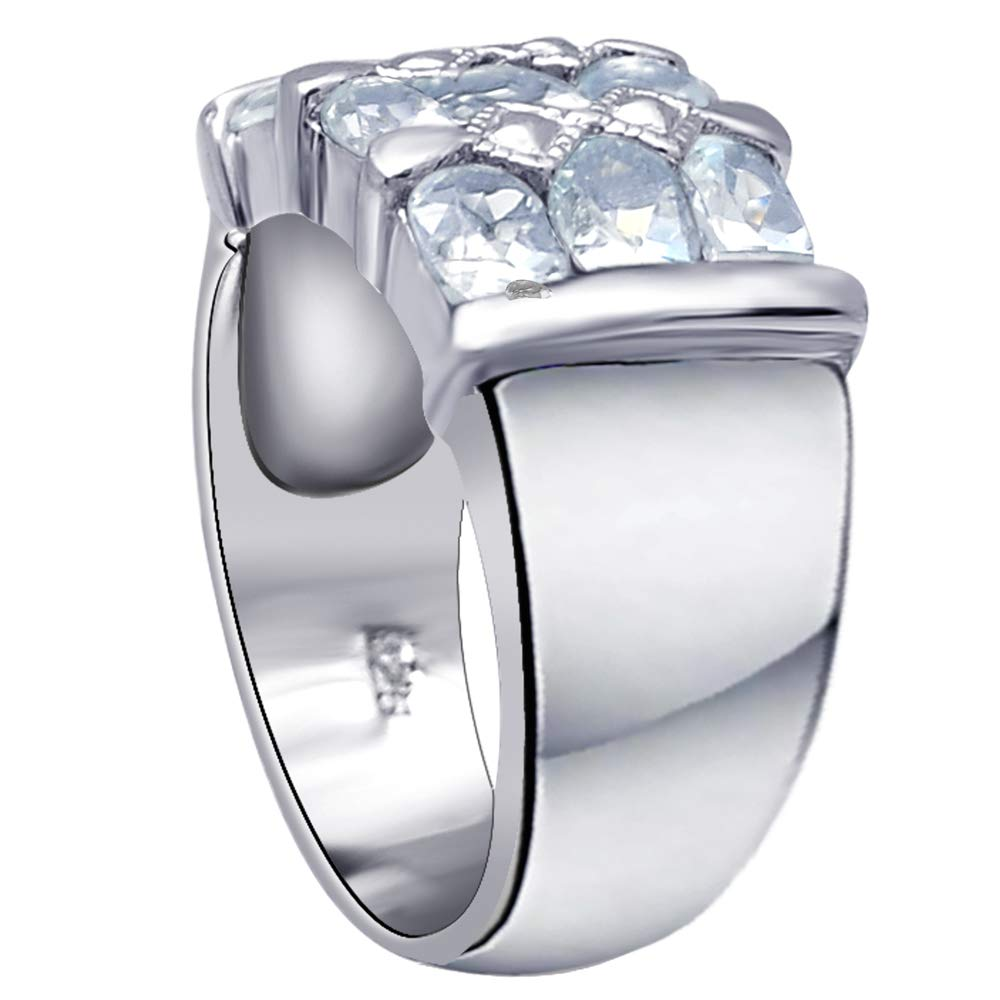 Orchid Jewelry 925 Sterling Silver Blue Topaz Cocktail Unisex Ring, (Size 8) by Orchid Jewelry (Image #4)