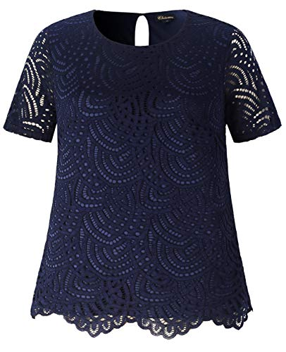 Chicwe Women's Plus Size Smart Scalloped Lace Solid Top - Casual and Work Blouse Navy 4X