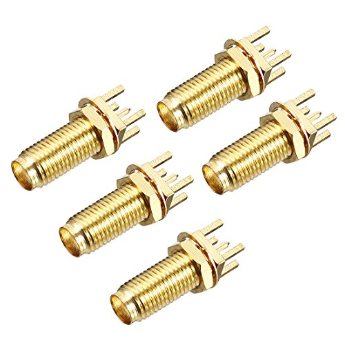 uxcell 5pcs Gold Tone SMA Female to PCB Socket RF Coaxial Adapter Connector