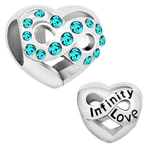 December Bead Boy Charm - LilyJewelry Infinity Heart Love December Charm Beads For Bracelets