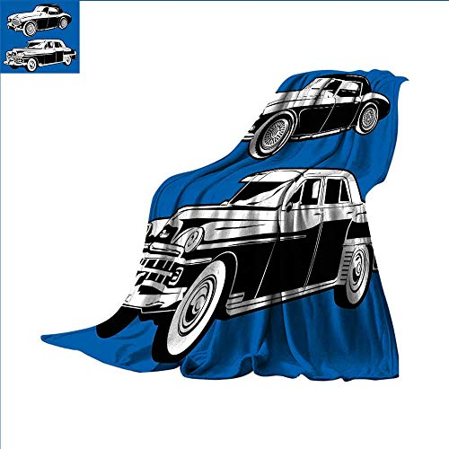 (smallbeefly Cars Super Soft Lightweight Blanket Black and White Vintage Cars on Navy Blue Backdrop Classic Old Vehicles Oversized Travel Throw Cover Blanket 62