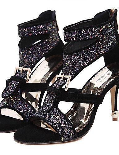 White Women's Sandals Black Dress Toe golden Synthetic Stiletto Shoes Gold Open ShangYi Heel Aq6Fvdvx