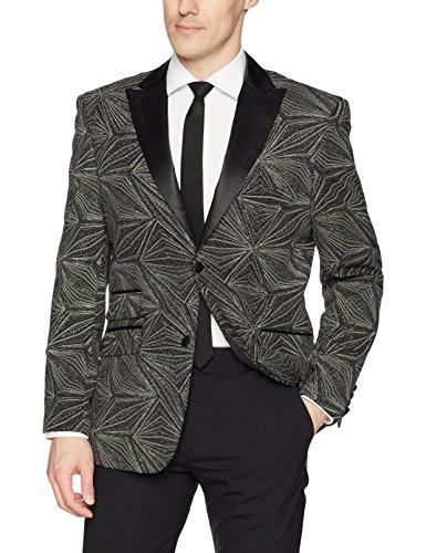 (STACY ADAMS Men's Single Breasted Star Burst Sport Coat, Black, 2X Large)