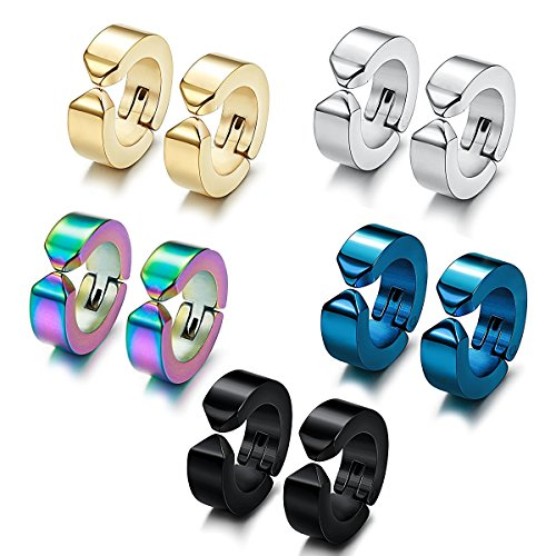 IDoy Non Pierced Earrings for Men Fake Hoop Earrings Stainless Steel Clip On Huggie Set