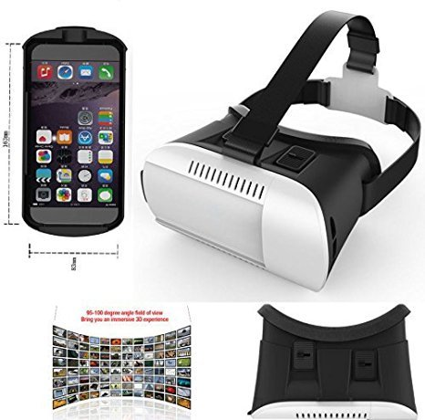 "[2015 Version] FOME SPORTS|OUTDOORS 3D VR Virtual Reality 3D Video Glasses Helmet Headset Adjust Cardboard for 4.7~6"" Smartphone iPhone /Samsung/ Google /HTC /Xiaomi White+ a Bluetooth Controller"