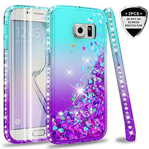 Galaxy S6 Edge Case (Not Fit Galaxy S6) with Tempered Glass Screen Protector for Girls Women, LeYi Glitter Bling Diamond Liquid Quicksand Flowing Phone Case for Samsung Galaxy S6 Edge ZX Teal/Purple