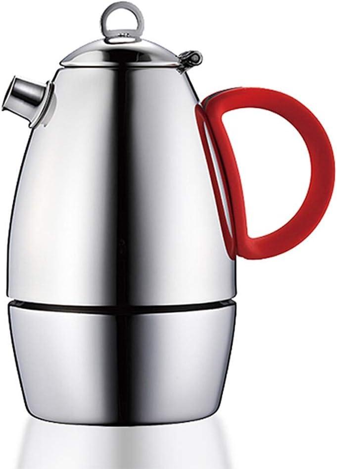 モカポット ステンレス鋼のモカポットコーヒーメーカーアンチ火傷ハンドルのコーヒーメーカー モカポットステンレス鋼 (色 : Silver, Size : 6 cup)