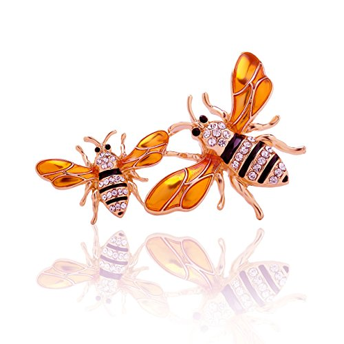 PANGRUI Exquisite Enamel Big and a Small Bumblebee Brooch Pin with Crystal rhinestones (Rose Gold)