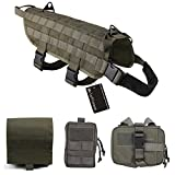 MoloVinson Tactical Dog Molle Vest Harness Training Camping Dog Vest with Detachable Pouches Military Patrol K9 Dog Harness for Medium & Large Dog