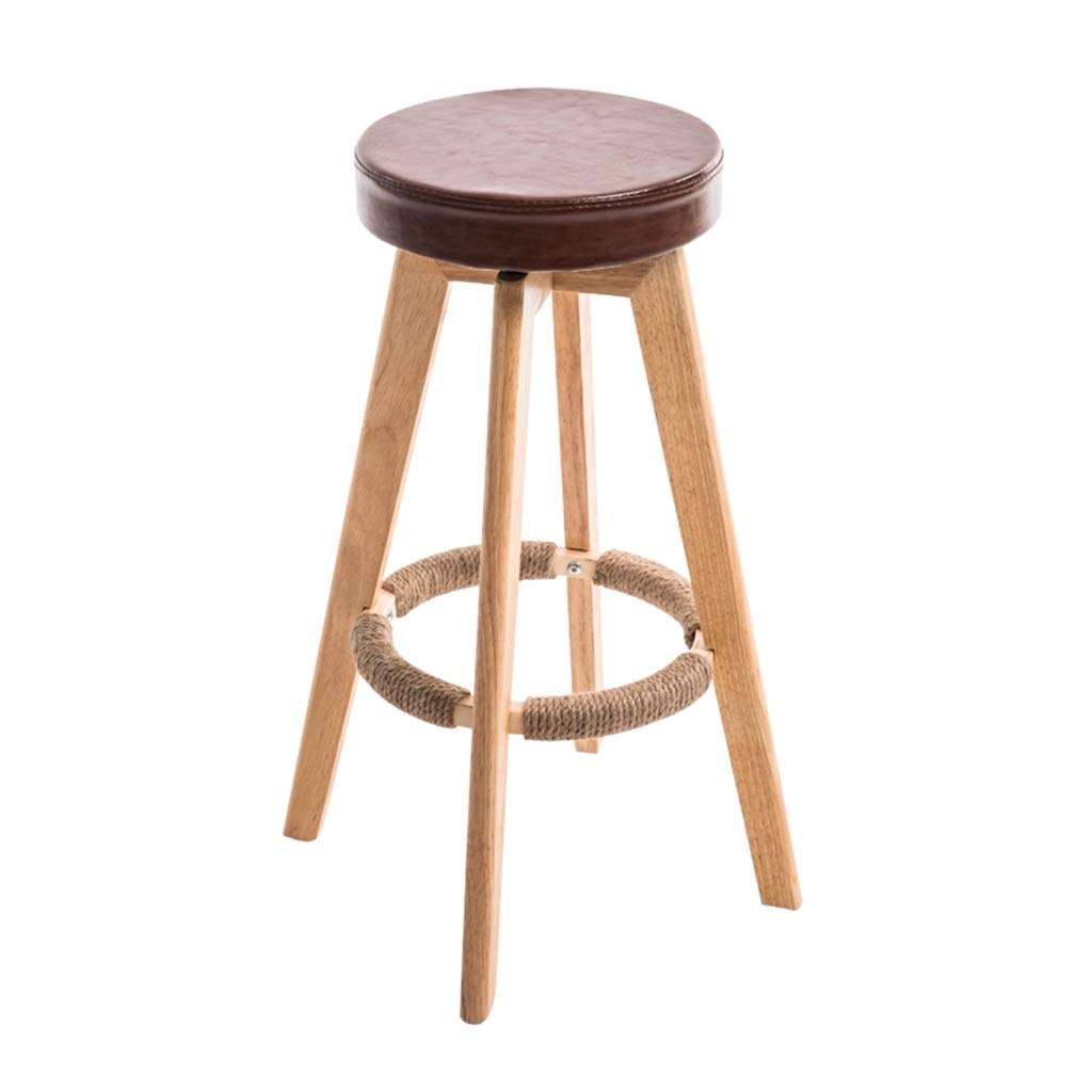 Brown Seat height 63cm Barstools Chair Hemp Rope Footrest PU Sponge Cushion Seat Dining Chairs for Kitchen   Pub   Café Bar Stool 4 Wood Legs Max. Load 150 kg (color   Yellow, Size   Seat Height 73cm)