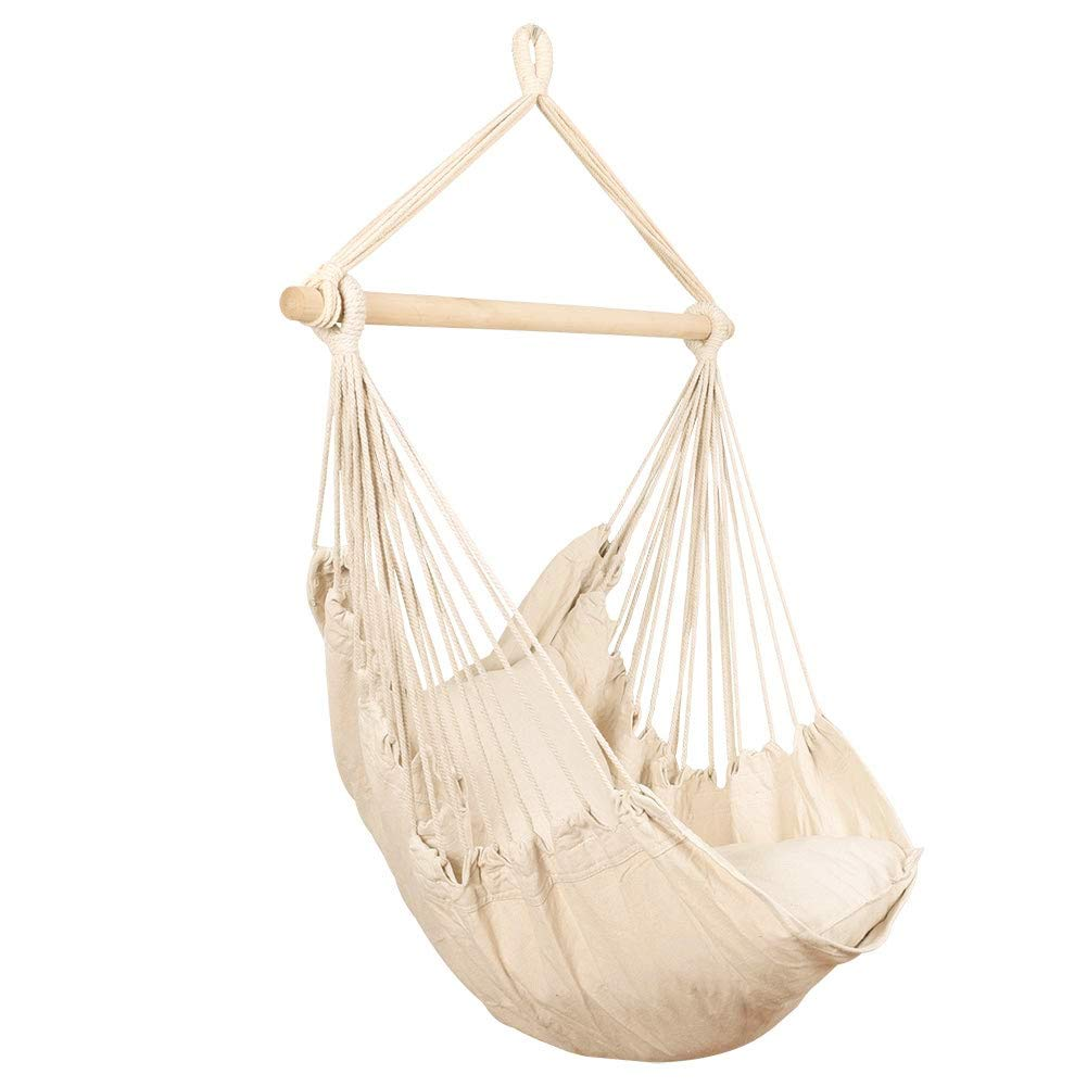 BCGI Hanging Rope Hammock Chair Swing Seat with Two Cushions Porch Weight Capacity 260 Lbs Yard Large Brazilian Cotton Rope Hammock Porch Chair for Home Outdoor Patio Indoor