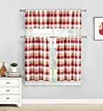 Three Piece Kitchen/Cafe Tier Window Curtain Set: Large Gingham Check Pattern, Cotton Blend Fabric (Red) Review